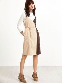 Color Block Self Tie Button Corduroy Slip Dress