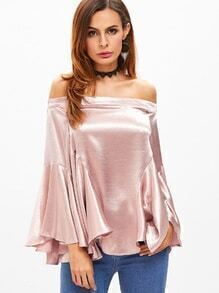 Pink Off The Shoulder Bell Sleeve Ruffle Top