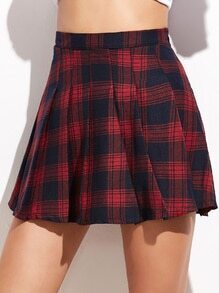 Red High Waist Plaid Pleated Skirt