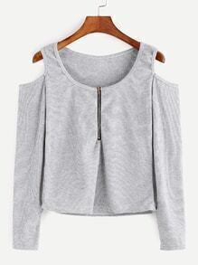 Pale Grey Open Shoulder Zip Front T-shirt