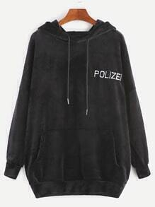 Black Drop Shoulder Letter Embroidery Velvet Hooded Pocket Sweatshirt