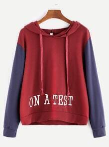 Burgundy Contrast Sleeve Letter Embroidery Drawstring Hooded Sweatshirt