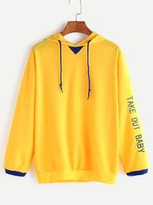 Yellow Contrast Trim Letter Embroidery Drawstring Hooded Sweatshirt