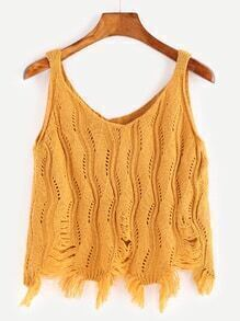 V Neck Eyelet Distressed Fringe Hem Sweater Vest