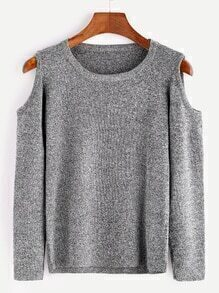 Grey Open Shoulder Casual Sweater