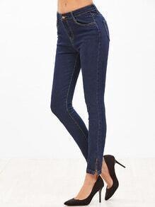 Deep Blue Zip Hem Skinny Jeans