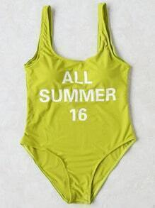Green Letter Print One-Piece Swimwear