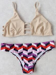 Geometric Print Strappy Bikini Set