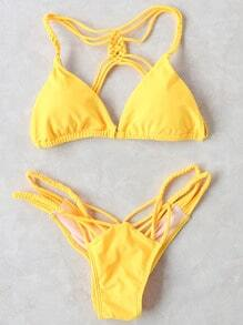 Yellow Braided Detail Strappy Back Bikini Set
