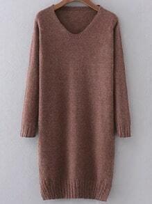 V Neck Cable Knit Detail Slit Sweater Dress