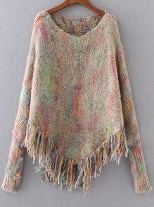 Khaki Fringe Hem Poncho Sweater