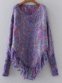 Purple Fringe Hem Poncho Sweater