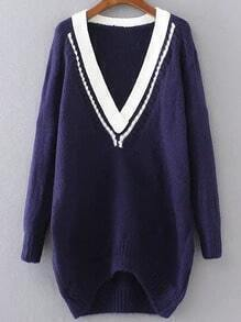 Navy Contrast V Neck High Low Sweater
