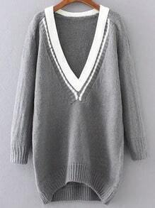 Grey Contrast V Neck High Low Sweater