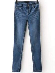 Blue Button Fly Skinny Jeans