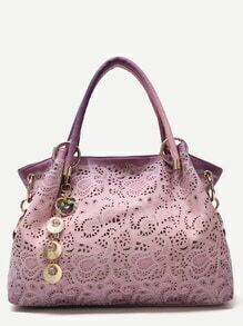 Purple Random Ombre Shell Pendant Paisley Hollow Out Tote Bag