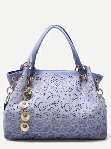 Blue Random Ombre Shell Pendant Paisley Hollow Out Tote Bag