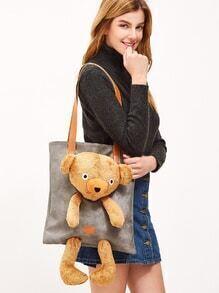 Oversized Grey Little Bear Design Zip Around PU Shoulder Bag