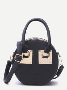 Black Round Shaped Faux Leather Mini Crossbody Bag