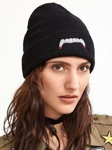 Black Embroidered Casual Beanie Hat
