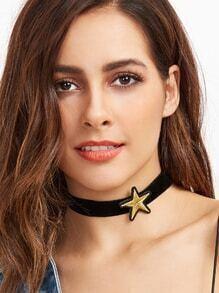 Star Patch Black Velvet Choker Necklace