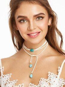 White Layered Turquoise Stone String Choker