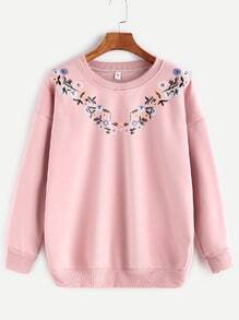 Pink Flower Print Dropped Shoulder Seam Sweatshirt