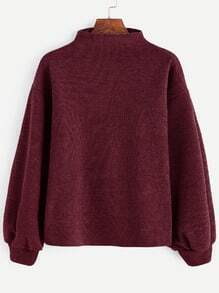 Burgundy Ribbed Lantern Sleeve Sweater