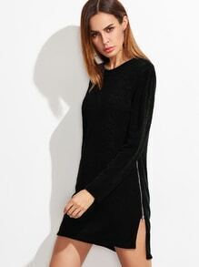 Black High Low Split Zipper Side Sweater Dress