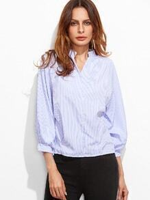 Vertical Striped Dip Hem Lantern Sleeve Button Back Blouse