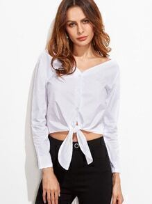 White Double V Neck Knot Front Crop Blouse
