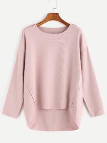 Pink Dropped Shoulder Seam High Low T-shirt