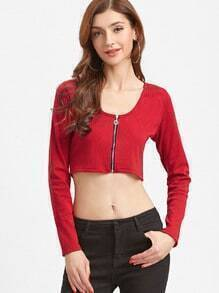 Red Zip Up Front Crop T-shirt
