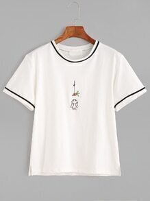 White Contrast Trim Slit Side Cartoon Embroidery T-shirt