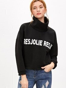 Letter Print High Neck Dip Hem Textured Sweatshirt
