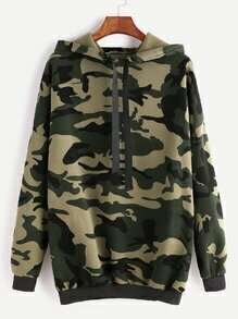Camo Print Drop Shoulder Drawstring Hooded Sweatshirt