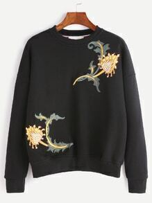 Black Dropped Shoulder Seam Flower Embroidery Sweatshirt