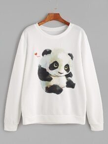 White Panda Print Long Sleeve Sweatshirt