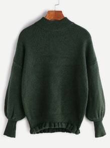 Turtleneck Drop Shoulder Lantern Sleeve Ruffle Hem Sweater