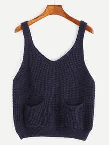 Navy Dual Pocket Front Split Side Sweater Vest