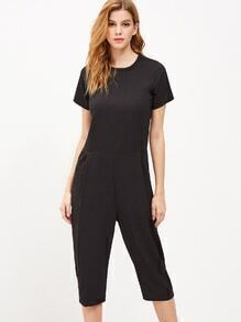 Black Short Sleeve Zipper Back Pocket Jumpsuit