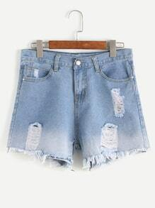Blue Stone Wash Ripped Fringe Hem Denim Shorts