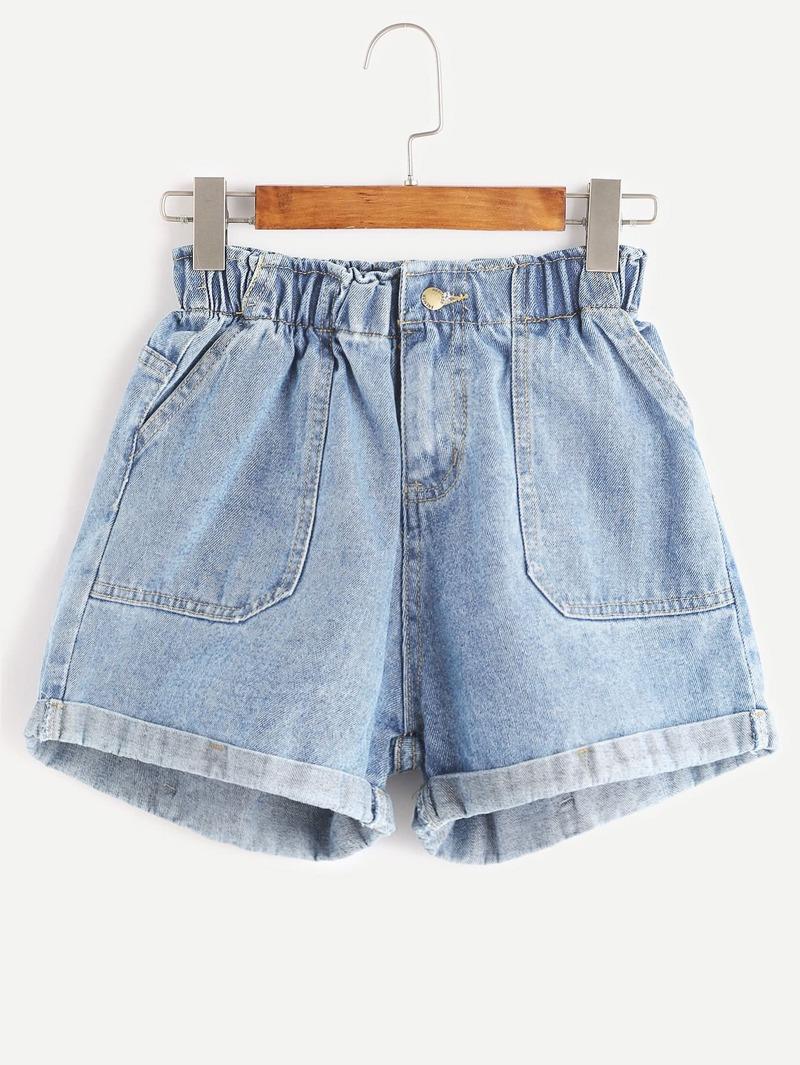 de8a391e9 Blue Elastic Waist Rolled Hem Denim Shorts | ROMWE