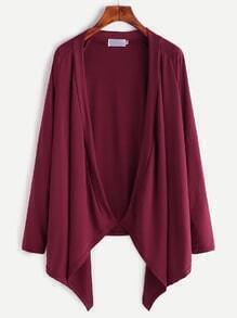 Burgundy Drape Front Raglan Sleeve Coat