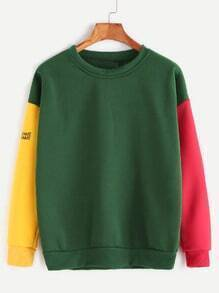 Color Block Drop Shoulder Letter Print Sweatshirt