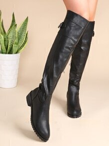 Black Almond Toe Zip Side Buckled Knee Boots
