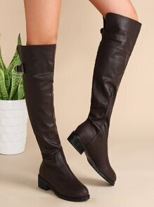 Coffee Almond Toe Zip Side Buckled Knee Boots