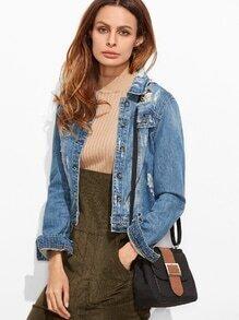 Black Buckled Strap Pocket Front Shoulder Bag