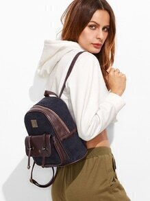 Navy Corduroy and PU Pocket Front Mini Backpack