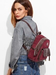 Red Corduroy and PU Pocket Front Mini Backpack